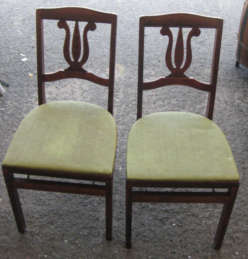Set 2 Antique Vintage Green Stakmore Folding Wood Cherry Chairs Furniture